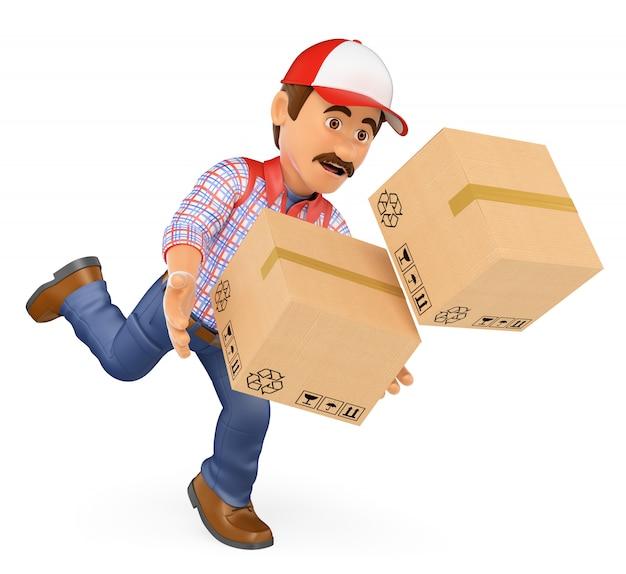 Hombre de entrega 3d cayendo con cajas. accidente laboral