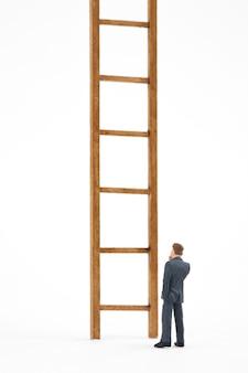 Hombre y escalera sobre fondo blanco