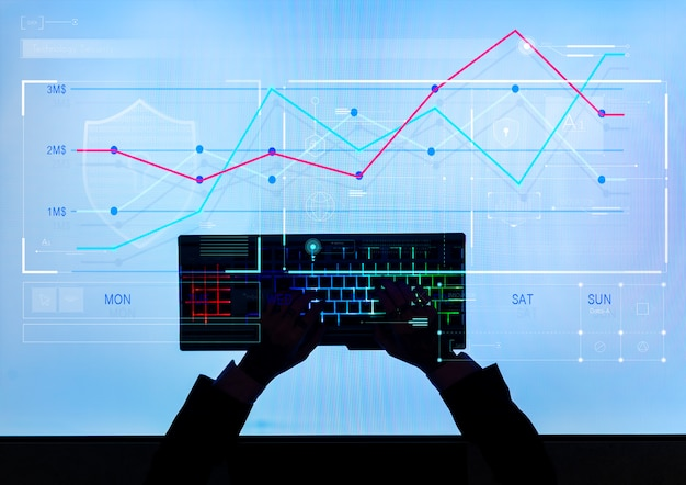 Hombre escribiendo generando datos del mercado de valores