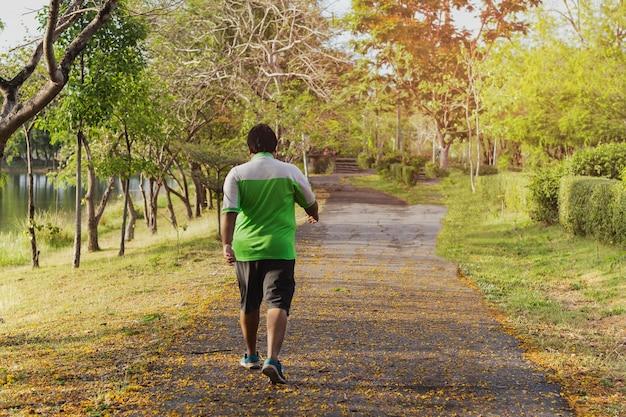 Hombre de gran tamaño asiático caminar ejercicio en el parque