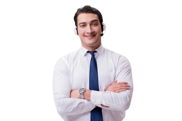 Hombre guapo con auriculares aislado en blanco
