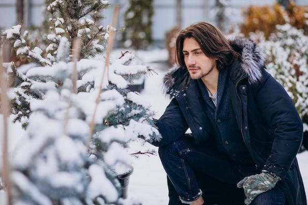 Hombre guapo eligiendo un árbol de navidad