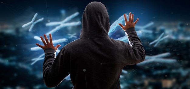 Hombre hackeando un grupo de cromosomas con adn dentro de renderizado 3d aislado