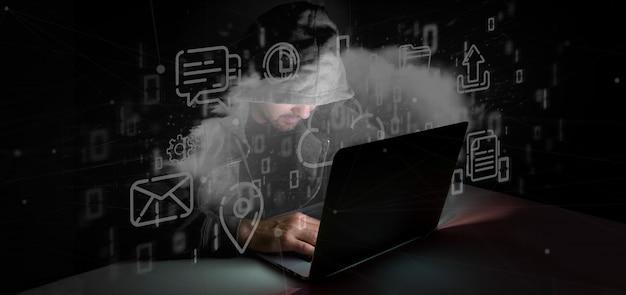 Hombre hackeando una nube de representación multimedia en 3d