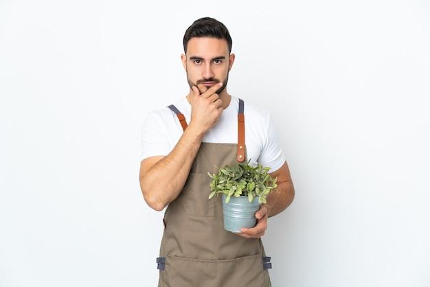 Hombre jardinero sosteniendo una planta aislada sobre fondo blanco pensando