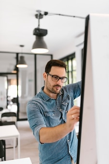 Hombre joven concentrado que trabaja en un whiteboard.
