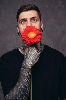 Hombre joven contemplado con la nariz perforada y orejas sosteniendo una flor de gerbera roja frente a su boca contra el fondo gris