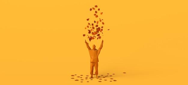 Hombre jugando con hojas secas tirándolas al aire. copie el espacio. ilustración 3d.