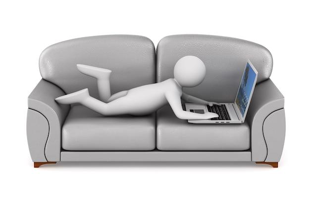 Hombre con laptop en espacio en blanco. ilustración 3d aislada