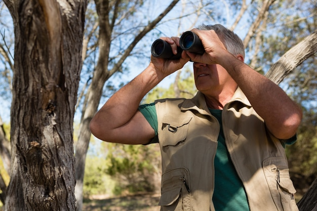 Hombre maduro mirando a través de binoculares en el bosque