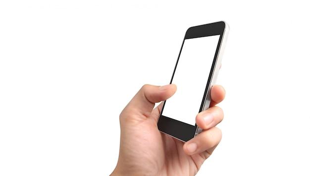 Hombre mano que sostiene la pantalla táctil del dispositivo smartphone