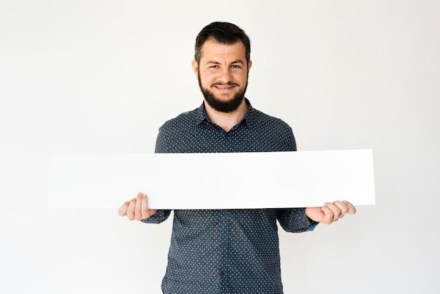 Hombre manos mantenga mostrar en blanco caja banner