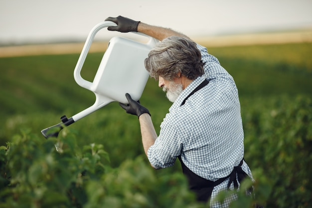 Hombre mayor regando sus plantas en su jardín con rociar. hombre con delantal negro.
