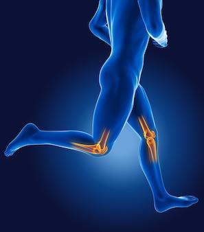 Hombre médico corriendo 3d con rodillas esqueléticas resaltadas