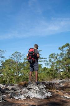 Hombre con mochila de pie en el acantilado, mirando el bosque con cielo azul