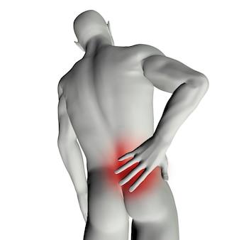 Hombre modelo 3d con dolor de espalda