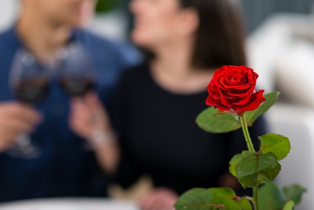 Hombre y mujer con una cena romántica de san valentín con rosa enfocada