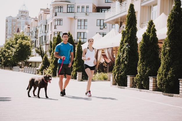 Hombre y mujer con mascota en el paseo marítimo de la ciudad, soleado día de verano