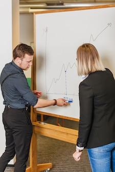 Hombre, mujer, posición, whiteboard