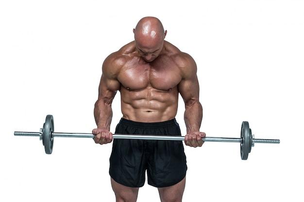 Hombre musculoso, elevación, crossfi