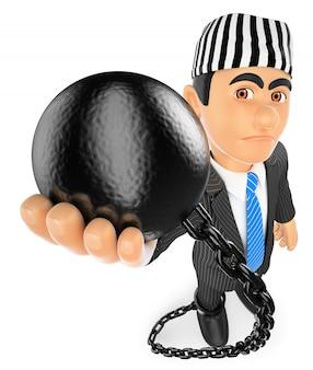 Hombre de negocios 3d con bola de prisionero. político corrupto
