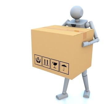 Hombre de negocios 3d con cajas de cartón en la mano