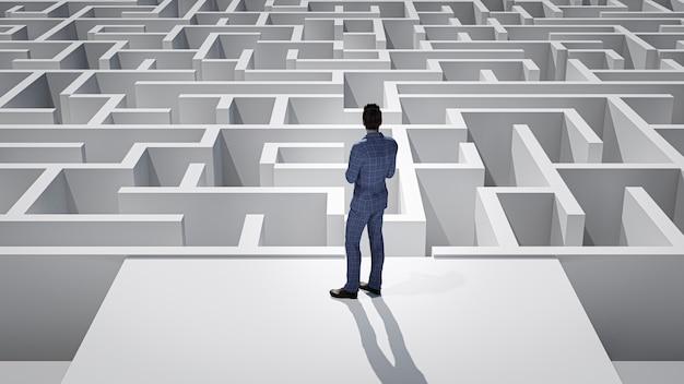Hombre de negocios 3d de pie delante del laberinto. concepto de éxito.