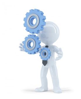 Hombre de negocios 3d que sostiene los engranajes del metal. concepto de negocio. aislado. contiene trazado de recorte