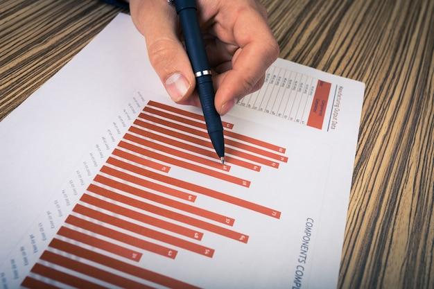 Hombre de negocios analizando gráficos de inversión