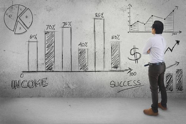 Hombre de negocios asiático que mira la estadística que dibuja el fondo de pared del concepto del negocio