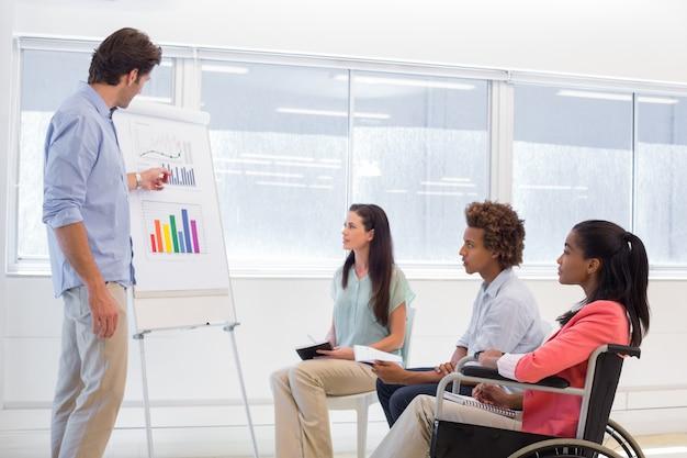 Hombre de negocios atractivo haciendo una presentación a sus compañeros de trabajo