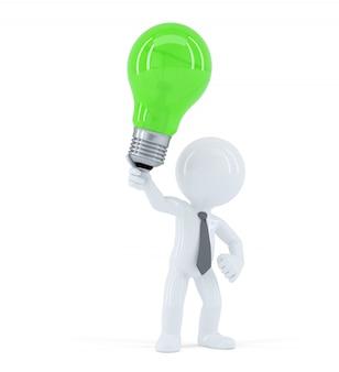 Hombre de negocios con bombilla de luz verde. concepto de idea empresarial creativa