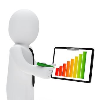 Hombre de negocios controlando un gráfico de colores