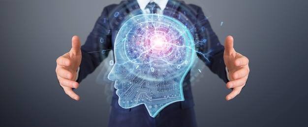 Hombre de negocios creando inteligencia artificial