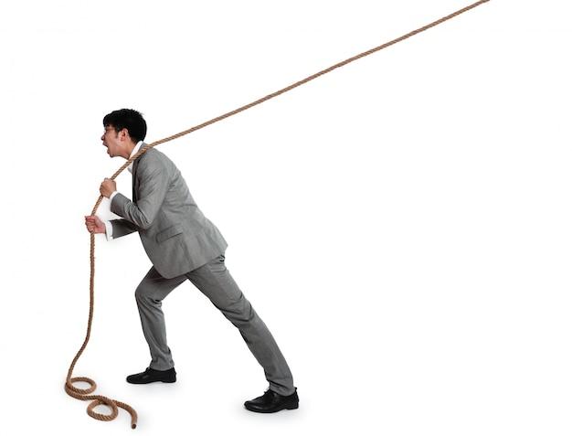 Hombre de negocios con una cuerda