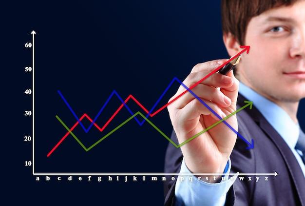 Hombre de negocios dibujando un gráfico creciente