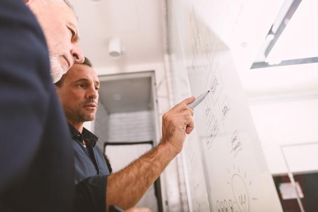Hombre de negocios dibujar un proyecto con un concepto de lápiz de colaboración y éxito en el trabajo en equipo