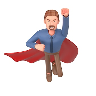 Hombre de negocios de dibujos animados vestido como un superhéroe. ilustración 3d