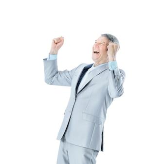 Hombre de negocios en edad, gritos de alegría.