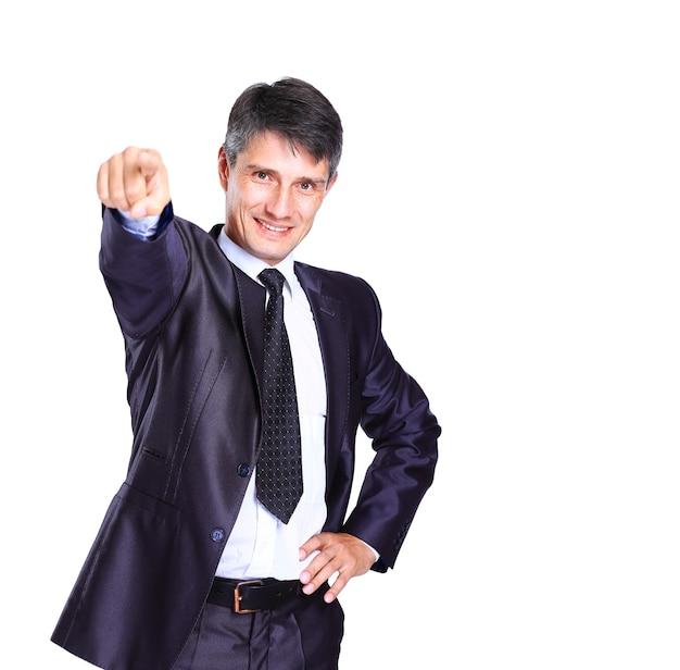 Hombre de negocios, empujar, en, un, interfaz de pantalla táctil