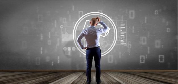 Hombre de negocios frente a una pared con el ícono de sistema de cámara de seguridad y datos estadísticos - representación 3d