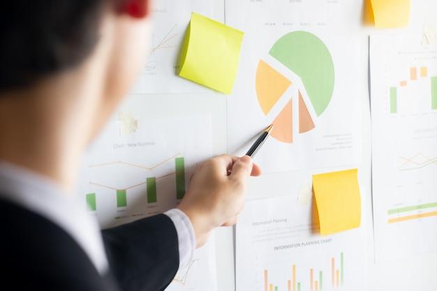 Hombre de negocios joven asiático que usa el puntero de la pluma que analiza documentos financieros en la pizarra para la presentación