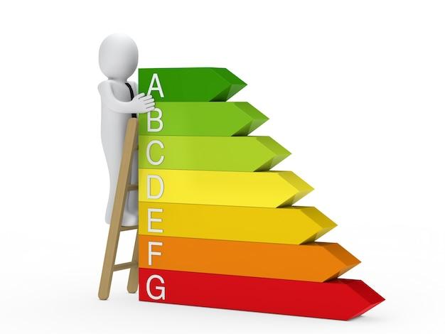 Hombre de negocios junto un certificado de eficiencia energética