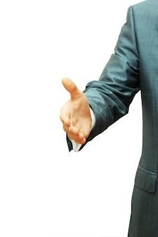 Hombre de negocios, con, un, mano abierta