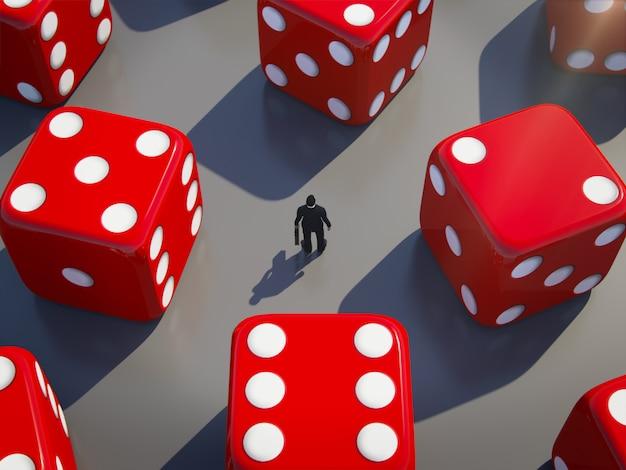 Hombre de negocios que se coloca con los dados rodantes alrededor, concepto del riesgo empresarial. representación 3d