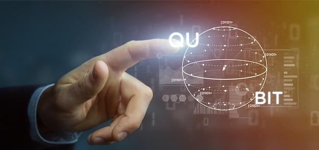 Hombre de negocios que lleva a cabo el concepto computacional de quantum con la representación 3d del icono del qubit