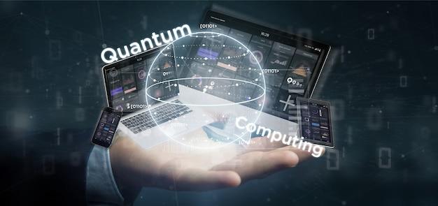 Hombre de negocios que lleva a cabo el concepto computacional de quantum con la representación 3d de qubit y de los dispositivos