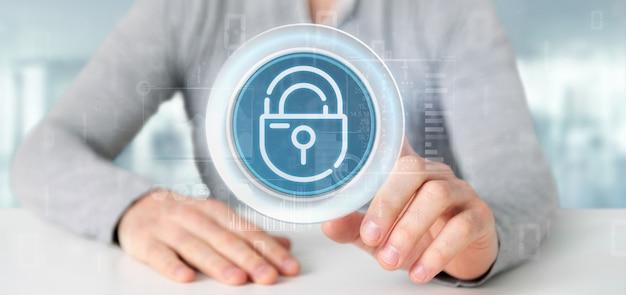 Hombre de negocios que lleva a cabo el icono de la rueda del candado de seguridad con estadísticas y la representación 3d del código binario