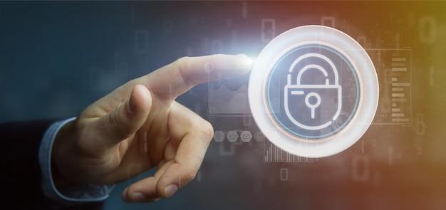 Hombre de negocios que lleva a cabo el icono de la rueda del candado de seguridad con estadísticas y representación 3d de código binario