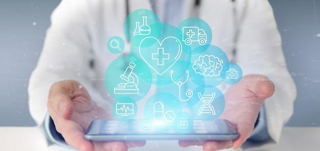 Hombre de negocios que lleva a cabo la representación médica del icono y de la conexión 3d